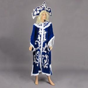 Карнавальный костюм снегурочки (шубка, кокошник), цвет темно-синий в пак...