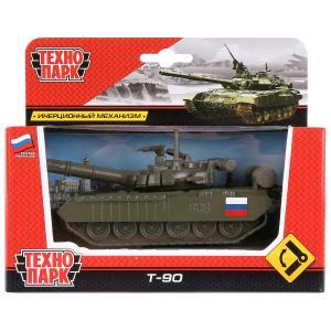 """ТАНК T-90 """"ТЕХНОПАРК"""" МЕТАЛЛ. ИНЕРЦ. 12СМ, БАШНЯ ВРАЩАЕТСЯ В РУСС. КОР. в кор.2*24шт"""