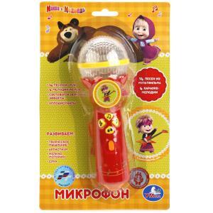 """Микрофон """"УМКА"""" свет+звук, 14 песен Маша и Медведь, 4 караоке мелодии на блистере в кор.2*96шт"""