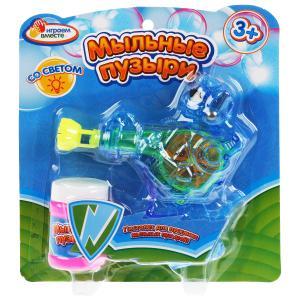 """Пистолет д/пускания мыльных пузырей """"Играем вместе"""" Робот, 50мл, со светом на блистере в кор.2*72шт"""