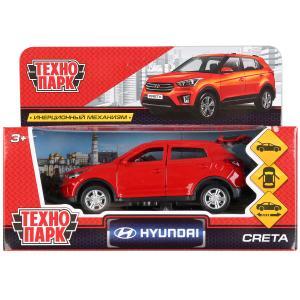 Машина металл HYUNDAI CRETA длина 12 см, двери, багаж, инерц, красный, кор. Технопарк в кор.2*36шт