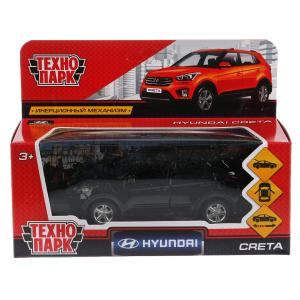 Машина металл HYUNDAI CRETA длина 12 см, двери, багаж, инерц, черный, кор. Технопарк в кор.2*36шт