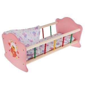 """Кроватка для кукол """"Карапуз"""" """"Мой мишка"""" деревянная 52см, с пласт. элементами в кор. в кор.10шт"""