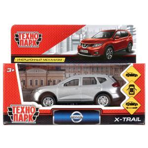 Машина металл NISSAN X-TRAIL 12 см, двери, багаж, инерц, серебристый, кор. Технопарк в кор.2*36шт