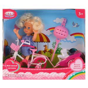 Кукла, ТМ Карапуз, Машенька 12см, в наборе велосипед с прицепом, питомец в русс. кор. в кор.2*36шт