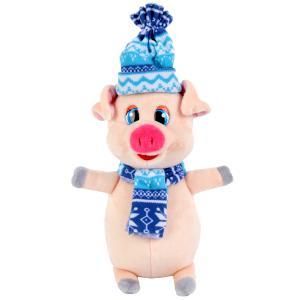 Игрушка мягкая, Поросенок в синем шарфе и шапке, 17см, Играем вместе в пак. в кор.24шт