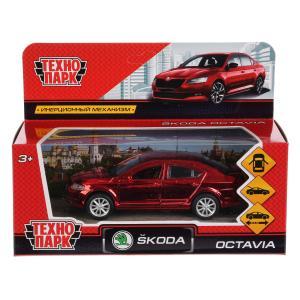 Машина металл SKODA OCTAVIA ХРОМ 12 см, двери, багаж, инерц, красный, кор. Технопарк в кор.2*36шт