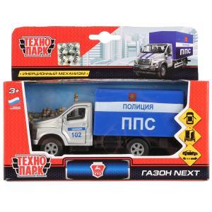 Машина металл ГАЗ Газон Next полиция кунг 14,5см, открыв.двери, инерц. в кор. Технопарк в кор.2*24шт