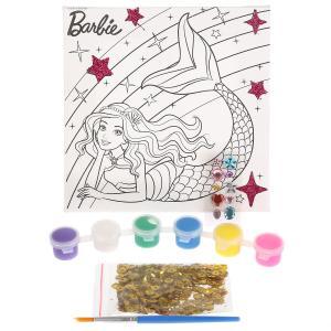 Набор д/тв-ва MultiArt Холст для росписи 15*15, Barbie с глиттером, стразы, пайетки в кор.48шт