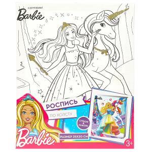 Набор д/тв-ва MultiArt Холст для росписи 20*25, Barbie с глиттером и стразами в пленке в кор.48шт