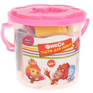 Набор тесто для лепки в ведре (12 цв, 204 гр., 3 формочки+валик) MultiArt. ФИКСИКИ. в кор.6*20шт