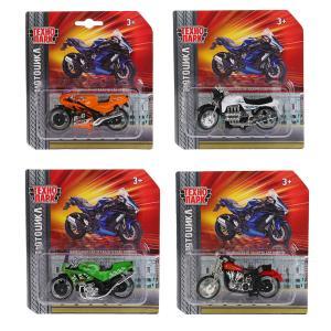 Машина металл Мотоцикл 9,5см, вращается руль, в ассорт. на блистере Технопарк в кор.2*144шт