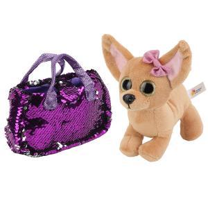 """Мягкая игрушка собака чихуахуа 19см в сумочке из пайеток в пак. ТМ """"Мой питомец"""" в кор.24шт"""
