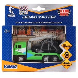 Машины металл Камаз эвакуатор 12см, инерц.+ Mercedes-Benz G-Class 7,5см в кор Технопарк в кор.2*24шт