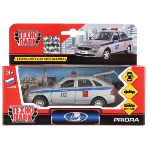 Машина металл  LADA Priora хэтчбек полиция 12см, открыв. двери, инерц. в кор. Технопарк в кор.2*24шт
