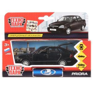 Машина металл LADA Priora хэтчбек черный 12см, открыв. двери, инерц. в кор. Технопарк в кор.2*24шт
