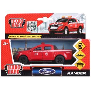 Машина металл FORD Ranger пикап пожарный 12см, открыв. двери, инерц. в кор. Технопарк в кор.2*24шт