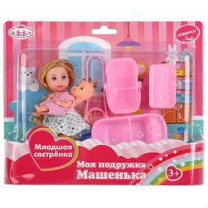 "Набор из 2-х кукол ""Карапуз""Машенька 12см и младшая сестренка 5см,с аксесс на блистере в кор.2*36наб"