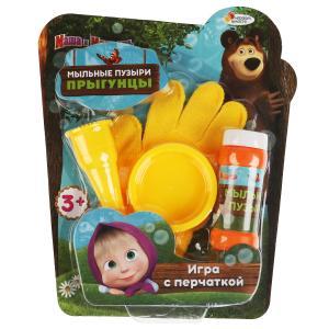 """Маша и медведь. Набор д/пускания мыл. пузырей """"Играем вместе"""" прыгунцы, перчатка, 50мл в кор.2*12шт"""