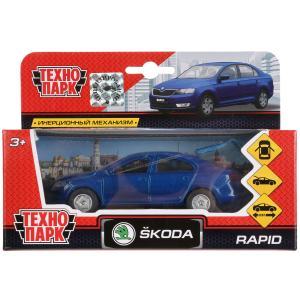 Машина металл SKODA Rapid синяя 12см, открыв. двери и багажник, инерц. в кор. Технопарк в кор.2*24шт