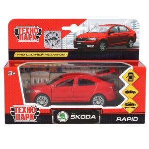 Машина металл SKODA Rapid красная 12см, открыв двери и багажник, инерц. в кор Технопарк в кор.2*24шт