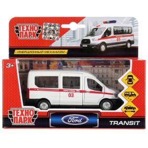 Машина металл FORD Transit скорая 12см, открыв. двери, инерц. в кор. Технопарк в кор.2*24шт
