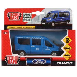 Машина металл FORD Transit синий окрас 12см, открыв. двери, инерц. в кор. Технопарк в кор.2*24шт