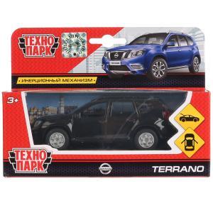Машина металл Nissan Terrano черный 12 см, откр.дв., багаж., инерц. Технопарк в кор.2*24шт