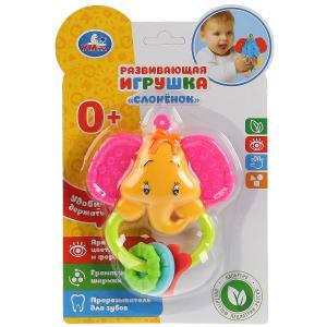 """Развивающая игрушка погремушка """"Слоненок"""" с прорезывателем на блистере """"Умка"""" в кор.2*96шт"""