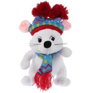 Игрушка мягкая Мышка белая в шапке с двумя помпонами 15см без чипа в пак. Мульти-пульти в кор.24шт