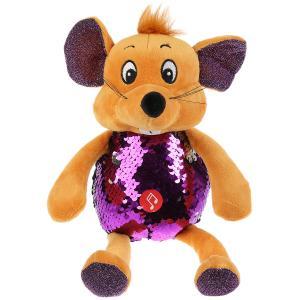 Игрушка мягкая Мышка фиолетовая блестящая 21см муз. чип в пак. Мульти-пульти в кор.24шт