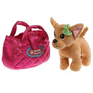 """Мягкая игрушка собака 15см в розовой сумочке, в пак. (русс. уп.) """"Мой питомец"""" в кор.24шт"""