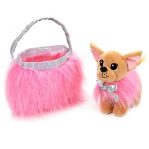 """Мягкая игрушка собака чихуахуа 19см в розовой сумочке, в пак. (русс. уп.) """"Мой питомец"""" в кор.24шт"""