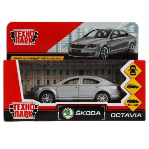 Машина металл SKODA OCTAVIA длина 12 см, двери, багаж, серебристый, кор. Технопарк в кор.2*36шт