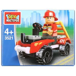 Конструктор пожарник на машине, 27дет. Город мастеров в кор.2*120шт