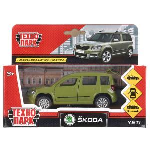 Машина металл SKODA YETI длина 12 см, двери, багаж, инерц, зеленый, кор. Технопарк в кор.2*36шт