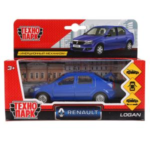 Машина металл RENAULT LOGAN длина 12 см, двери, багажн, инерц, синий, кор. Технопарк в кор.2*36шт