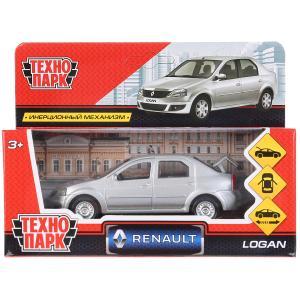 Машина металл RENAULT LOGAN длина 12 см, двери, багаж, серебристый, кор. Технопарк в кор.2*36шт