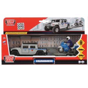 Машины металл Hummer H1 полиция 12см, инерц. + мотоцикл на прицепе в кор. Технопарк в кор.2*12шт