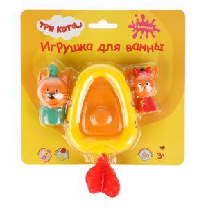 Игрушка пластизоль д/ванны Капитошка Три кота, Лодка+ Компот 7см +Карамелька 5см, блистер в кор.48шт