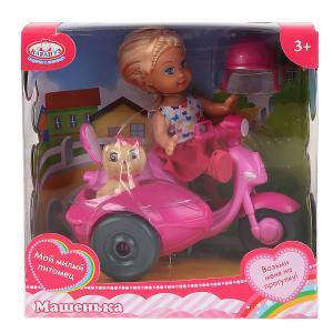 Кукла, ТМ Карапуз, Машенька 12см, в наборе мотоцикл с коляской, питомец, аксесс. в кор. в кор.2*24шт