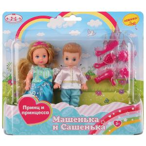 2 куклы Машенька и Сашенька 12см, принц и принцесса, с аксесс. на блистере Карапуз в кор.36шт