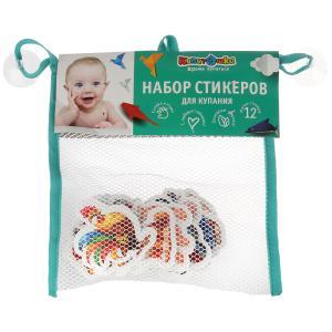 Игрушка для ванны Капитошка набор стикеров ЕВА домашние животные 12 шт., сумочка сетка в кор.50шт