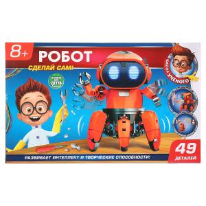 """Игрушка опыты """"школа ученого"""" шагающий робот (красный) на бат. свет+звук, 49дет. в кор.2*18шт"""