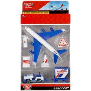 Модели металл Набор Аэропорт: самолет 14см, машинка, знаки, аксесс. в кор. Технопарк в кор.2*48шт