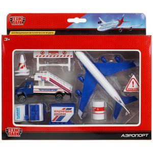 Модели металл Набор Аэропорт: самолет 14см, машинки, знаки, аксесс. в кор. Технопарк в кор2*36шт
