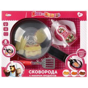 """Набор посуды Маша и Медведь сковорода на бат. с набором продуктов тм """"играем вместе"""" в кор.2*18шт"""