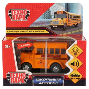 Машина металл школьный автобус 8см, свет+звук, инерц., цвета в ассорт. в кор. Технопарк в кор.2*84шт