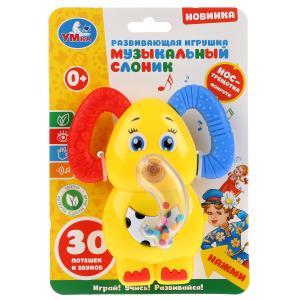 """Музыкальная погремушка слоник,нос-трещотка,потешки и звуки на карт. """"Умка"""" в пак уп-2шт в кор.2*24уп"""