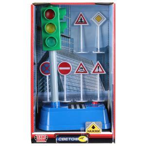 Светофор на батарейках свет+звук 21см, дорожные знаки в русс. кор. Технопарк в кор.2*12шт